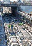 Järnvägarbeten arkivbild