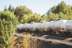 Järnvägbehållarebilar som rullar till och med träd Royaltyfri Fotografi
