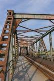 Järnvägbro Friesenbrucke nästan Weener i Tyskland Royaltyfria Bilder