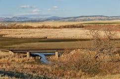 Järnvägbro och en sikt Royaltyfri Foto
