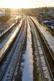 Järnvägen och solen Fotografering för Bildbyråer