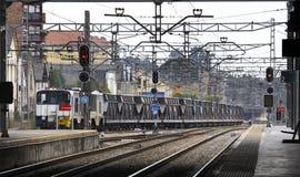 Järnvägen posterar med fraktdrevet Royaltyfri Fotografi