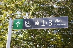 Järnvägen posterar signposten Fotografering för Bildbyråer