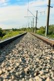 Järnvägen som passerar till och med skogen, går in i avståndet En klar solig sommardag arkivfoton