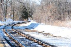 Järnvägen tar en vänd Royaltyfri Foto