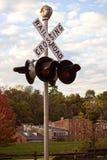 Järnvägkorsning i Galena, Illinois Arkivfoto