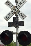 Järnvägkorsning signal Royaltyfri Fotografi