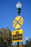 Järnvägkorsning tecken Royaltyfria Foton