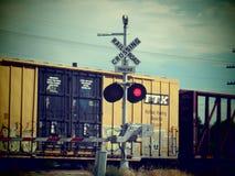 Järnvägkorsningen undertecknar Arkivbild