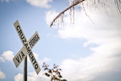 Järnvägkorsningen undertecknar Royaltyfria Bilder