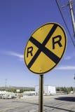Järnvägkorsningen undertecknar Fotografering för Bildbyråer