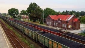 Järnväglastterminal i östliga Polen arkivfoto