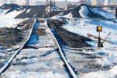 Järnvägpunkter, deformering av järnvägsspår som byggs på permafrost royaltyfri bild