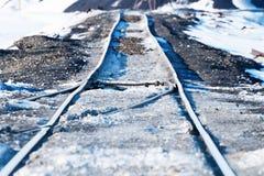 Järnvägpunkter, deformering av spåret som byggs på permafrost royaltyfria bilder