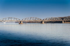 Järnvägsbro över floden Royaltyfri Foto