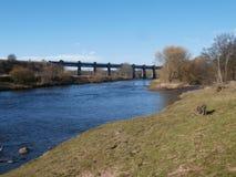 Järnvägsbro över floden södra Esk, Skottland Arkivfoto