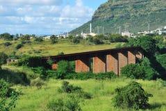 Järnvägsbro på stora Rivière, Mauritius Arkivfoto