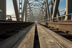 Järnvägsbro till och med floden Yenisei siberia Royaltyfria Foton