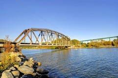 Järnvägsbro västra Vancouver, Kanada Arkivbild