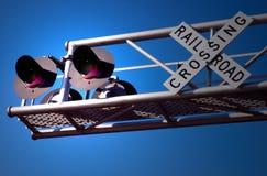 järnvägsignalering Arkivfoto