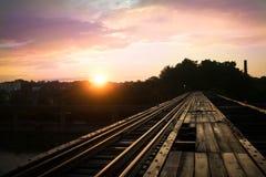 Järnvägsolnedgång Fotografering för Bildbyråer