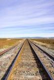 Järnvägspår över marsklan, Alviso, San Jose, södra San Francisco Bay område, Kalifornien royaltyfria bilder