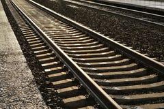 Järnvägspår, bakgrund Royaltyfri Foto