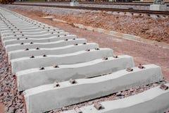 Järnvägspår i järnvägen för drevet, konstruktionsplats Arkivfoton