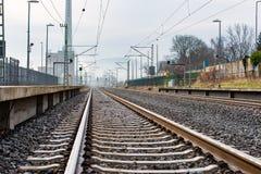 Järnvägspår i Tyskland Arkivfoton