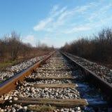 Järnvägspår i vinter, is royaltyfri foto
