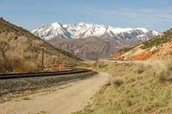 Järnvägspår med enkurva Royaltyfri Foto