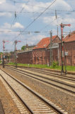 Järnvägspår och signaler i Lingen Royaltyfri Fotografi