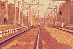 Järnvägspår på en drevstation Royaltyfri Fotografi