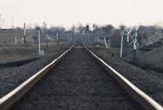 Järnvägsspår i Polen Arkivbild
