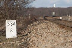 Järnvägsspår i Polen Arkivfoto