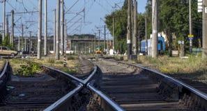 Järnvägsspår järnvägpointwork för snabb stång arkivfoto