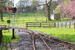 Järnvägsspår och signal Royaltyfria Bilder