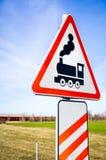 Järnvägsspårvägmärke Arkivfoto