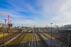 Järnvägsstation för Basel SBB i Schweiz Arkivbild