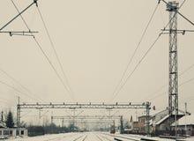 Järnvägsstation i en liten Balkan stad Fotografering för Bildbyråer
