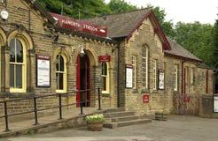Järnvägsstation i Haworth, UK Arkivfoto