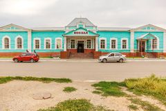 Järnvägsstation i solenoid-Iletsk fotografering för bildbyråer