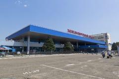Järnvägsstation i staden av Anapa, Krasnodar region arkivbild
