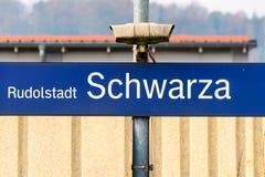 Järnvägsstation Rudolstadt Schwarza Arkivfoton
