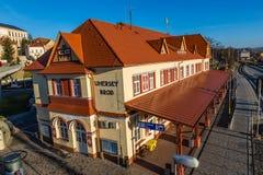 Järnvägsstation - Uhersky Brod, Tjeckien Arkivfoton
