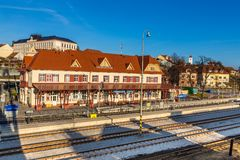 Järnvägsstation - Uhersky Brod, Tjeckien Royaltyfria Foton