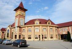 Järnvägsstationbyggnad i Uzhhorod, västra Ukraina Fotografering för Bildbyråer