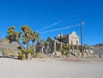 Järnvägsstationen fördärvar i Rhyolite Arkivbild