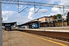 """Järnvägsstationen i Stargard SzczeciÅ """"skidar Royaltyfria Bilder"""