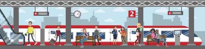Järnvägsstationillustration vektor illustrationer